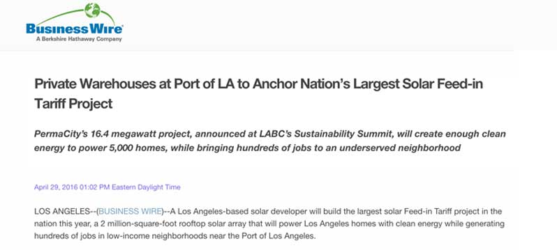 PermaCity's 16.4 megawatt project, announced at LABC's Sustainability Summit, will create enough clean energy to power 5,000 homes.
