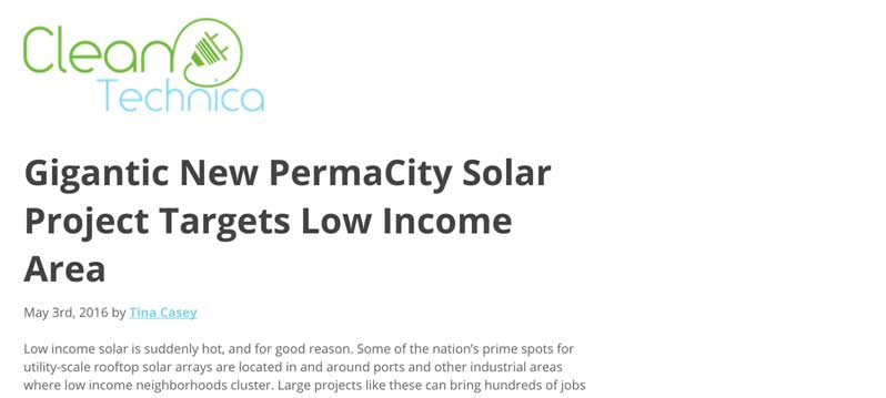 Gigantic New PermaCity Solar Project Targets Low Income Area